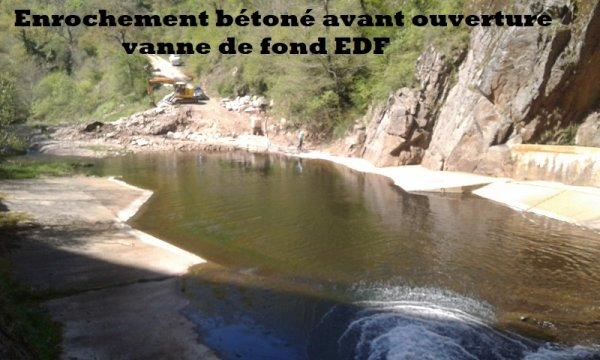 Enrochement bétoné avant ouverture vanne de fond EDF
